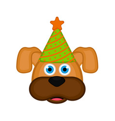 cute dog with party hat avatar vector image