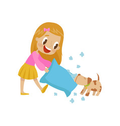 Cute girl playing pillow fight with her dog vector