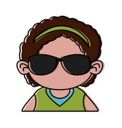 Cute girl with sunglasses cartoon vector