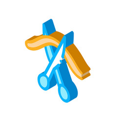 Cutting umbilical cord isometric icon vector