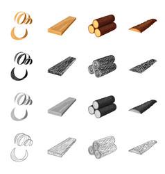 design of tree and raw symbol set of tree vector image