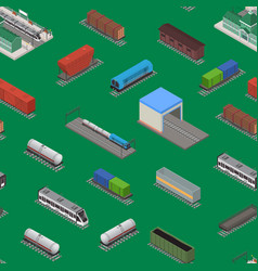 different types train 3d seamless pattern vector image