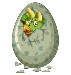 dinosaur comes out of gray egg vector image