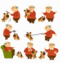 Dog with owner pensioner with pet on leash vector