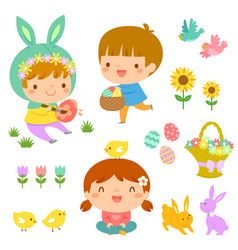 Easter kids and icons vector