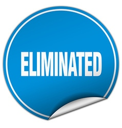Eliminated round blue sticker isolated on white vector