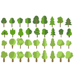 Flat trees Trees set in a flat design icons vector image