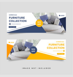 Furniture sale facebook cover banner template vector