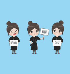 girl chef holds a signage vector image