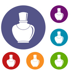 Glass bottle with perfume icons set vector