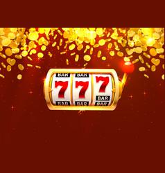 Golden slot machine wins jackpot piles of vector