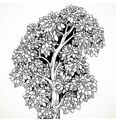Graphically drawing black ink tree with bushy vector