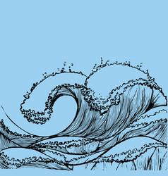 Great wave in vintage style retro prints on blue vector