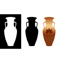 greek amphora image and silhouettes in white and vector image
