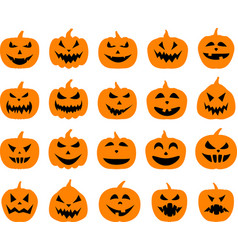 Halloween pumpkin faces set on white vector