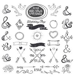 Hand drawing lettering ampersands set Wedding vector