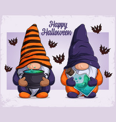 hand drawn cute gnomes in halloween disguise vector image