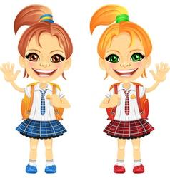 Happy girls in a school uniform vector image