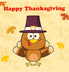 Happy thanksgiving greeting with pilgrim turkey vector