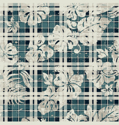Hibiscus and leaves with scottish tartan vector