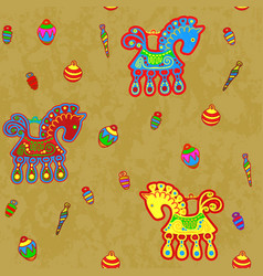 Horse and toys folk art stylization repeating vector