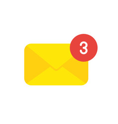 icon concept of closed mail envelope with number vector image