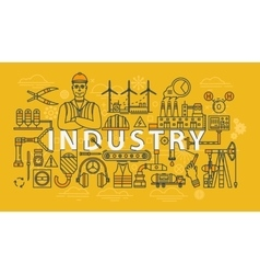 Industry thin line industrial banner vector image