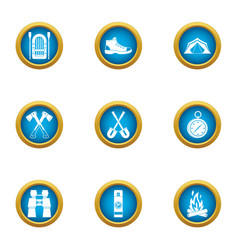 Journey to the mystery icons set flat style vector