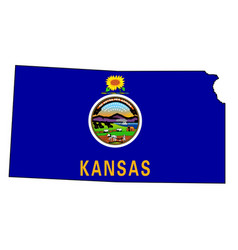 Kansas outline map and flag vector