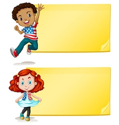 Label design with kids and yellow background vector