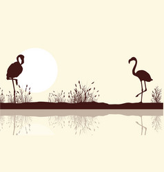 Lake landscape and flamingo silhouettes vector