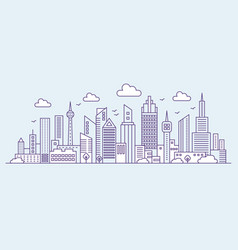 Line modern urban big city on blue background vector