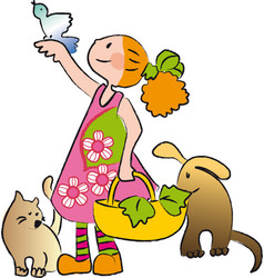 Little girl with cat dog and little bird vector
