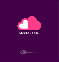 Love cloud logo dating website emblem vector