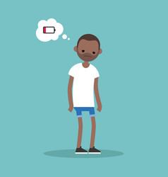 Low battery conceptual young exhausted black man vector