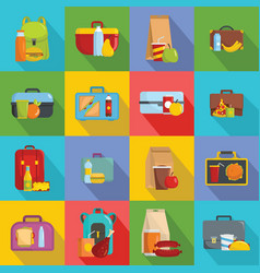 lunchbox food icons set flat style vector image