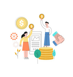 Man standing at book pile with golden coin vector