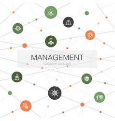 Management trendy web template with simple icons vector