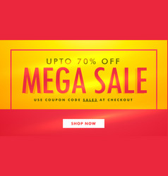 Mega sale banner template design in yellow and vector