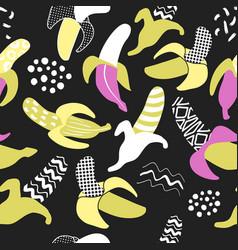 Memphis seamless pattern with banana abstract vector