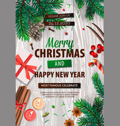merry christmas banner xmas party with gifts box vector image