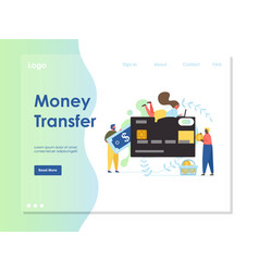 Money transfer website landing page design vector