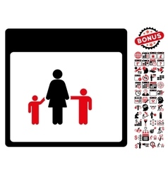 Mother Calendar Page Flat Icon With Bonus vector image