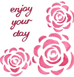 Motivational card with watercolor roses vector