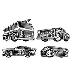 muscle cars and vintage transports set retro vector image