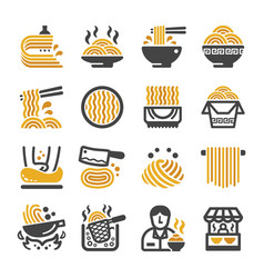 noodle icon set vector image