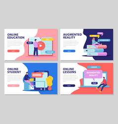 Online lessons horizontal banners vector