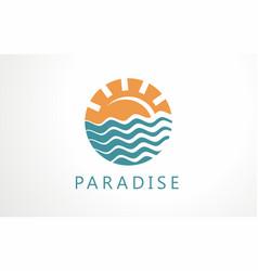 paradise logo pleasure ocean design sun island vector image