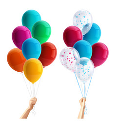 Party balloons in hand composition vector