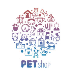 Pet store or shop round banner vector